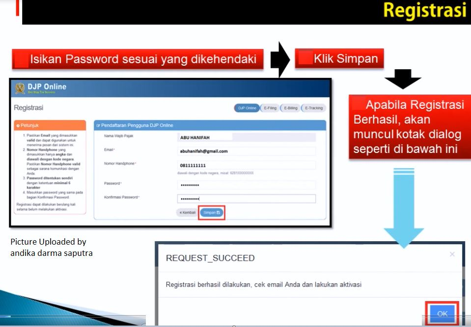 Isi Email dan Password DJP Online