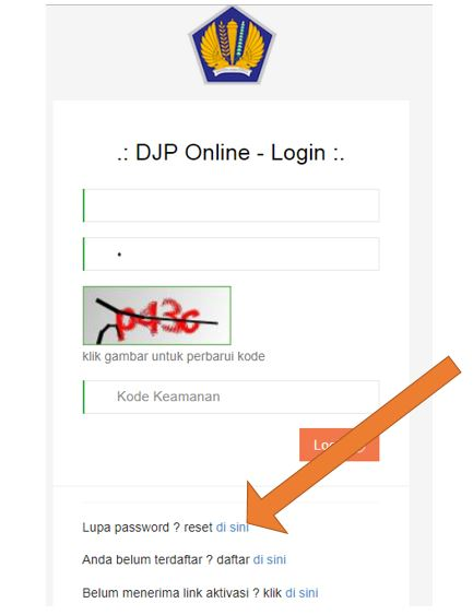 Reset Password DJP Online